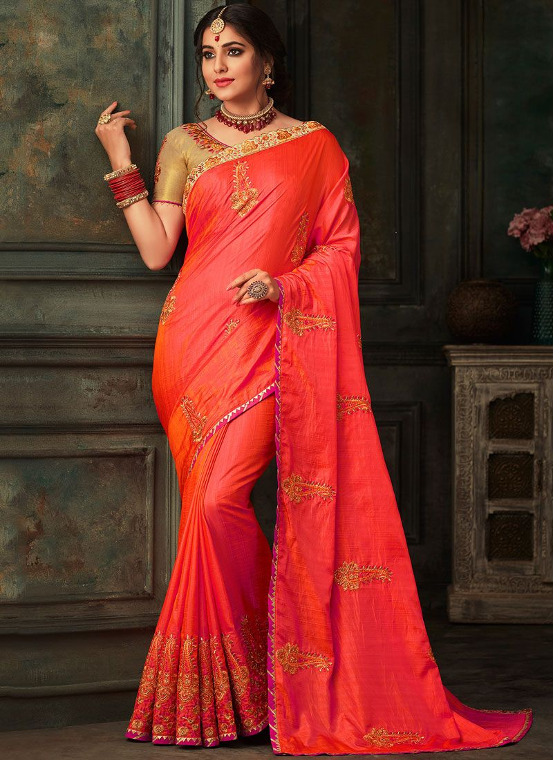 Poly Silk Red Patch Border Traditional Designer Saree
