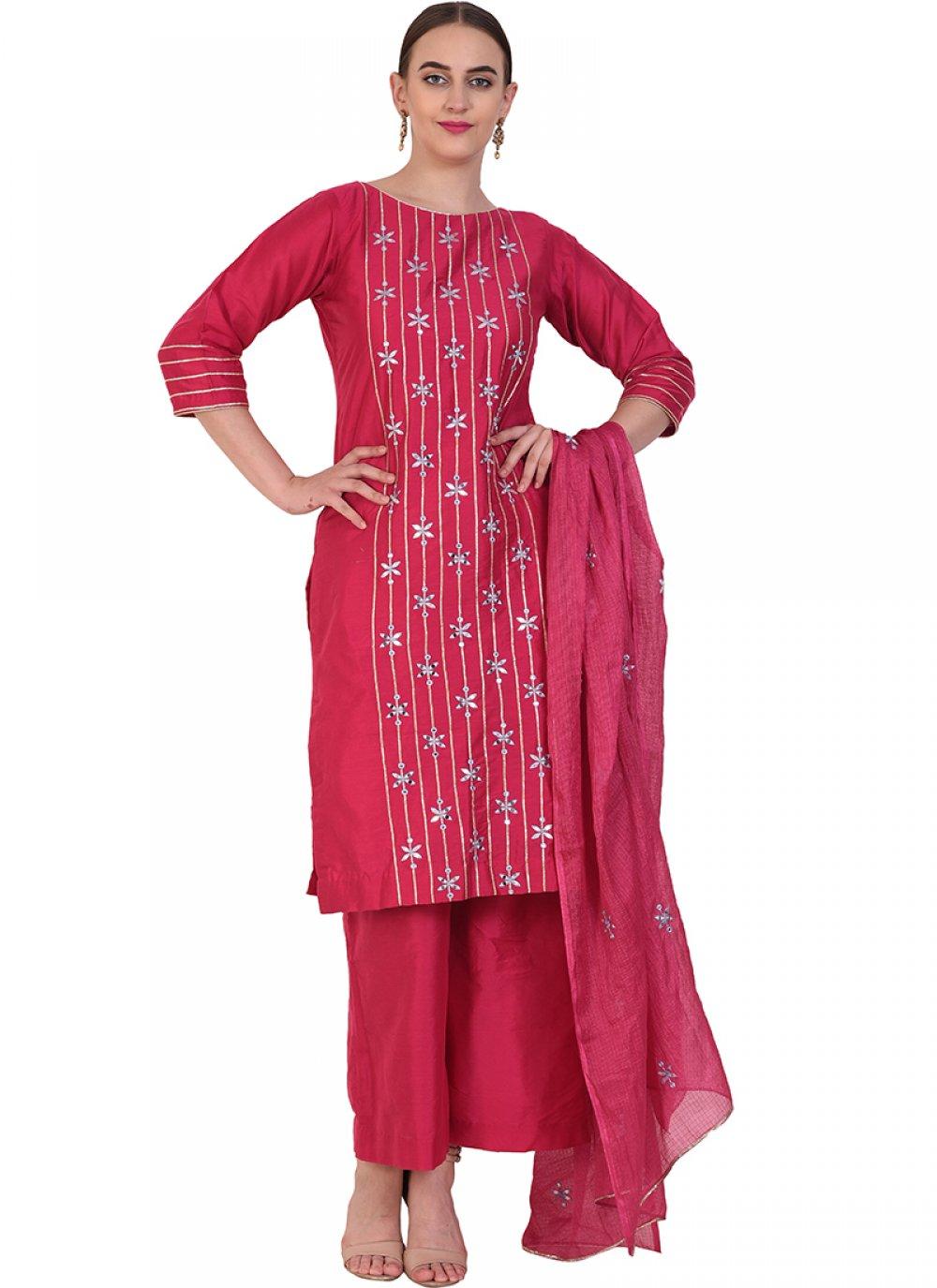 Poly Silk Resham Designer Suit