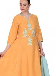 Poly Silk Resham Yellow Designer Suit