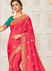 Poly Silk Rose Pink Patch Border Traditional Saree