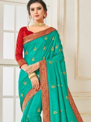 Poly Silk Sea Green Traditional Saree