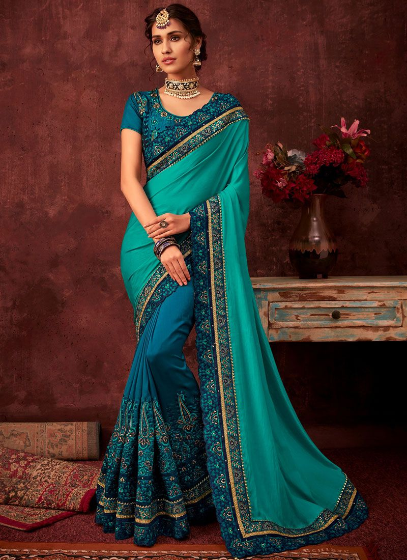 Poly Silk Wedding Designer Half N Half Saree