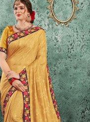 Poly Silk Yellow Designer Traditional Saree