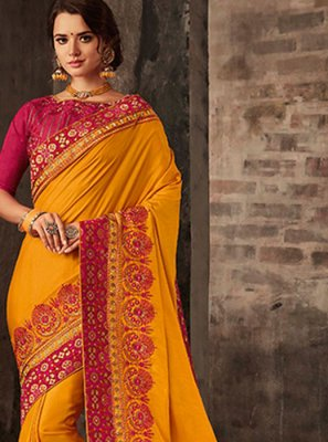 Poly Silk Yellow Embroidered Trendy Saree