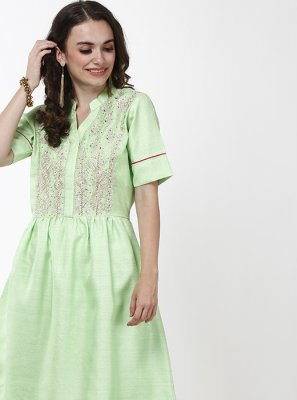 Polyester Embroidered Anarkali Salwar Kameez in Green