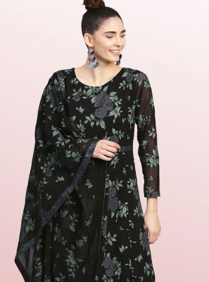 Polyester Party Wear Kurti in Black