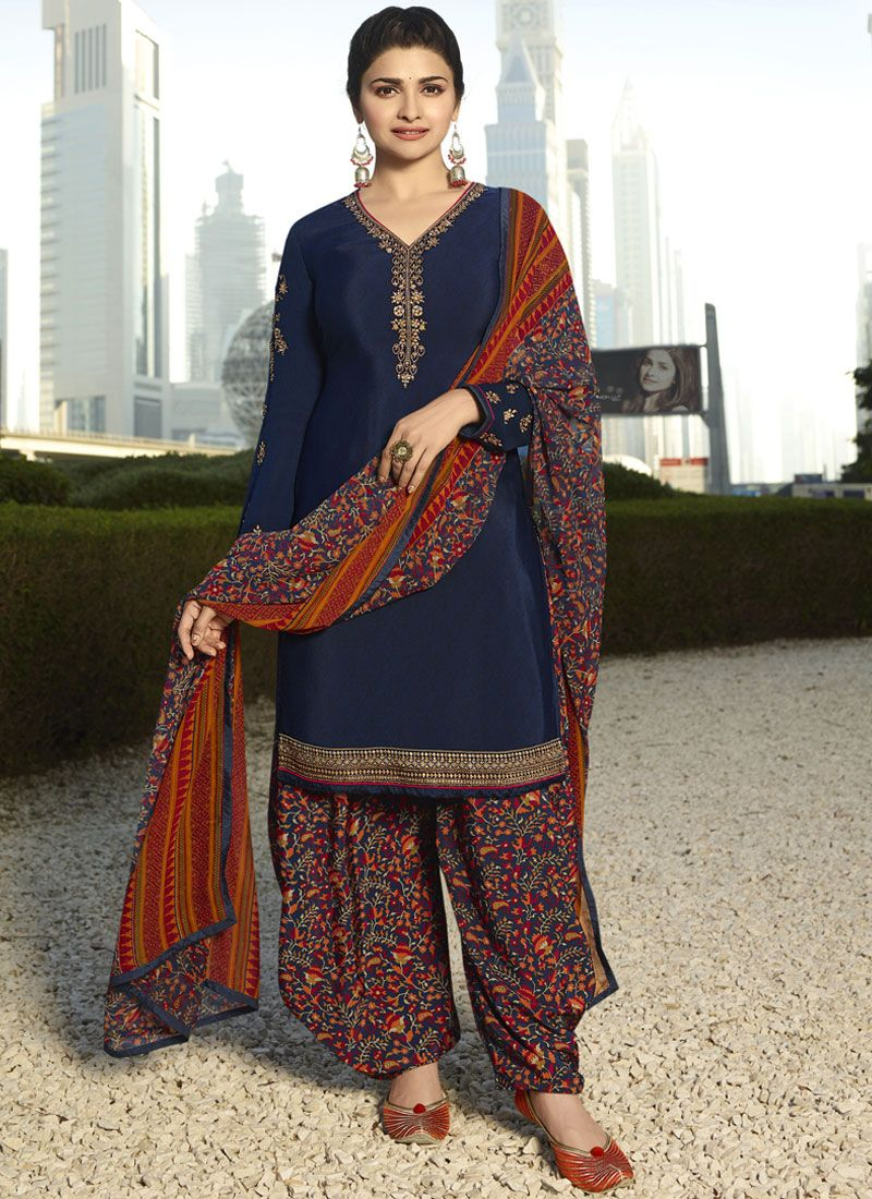 Prachi Desai Embroidered Blue Designer Pakistani Suit