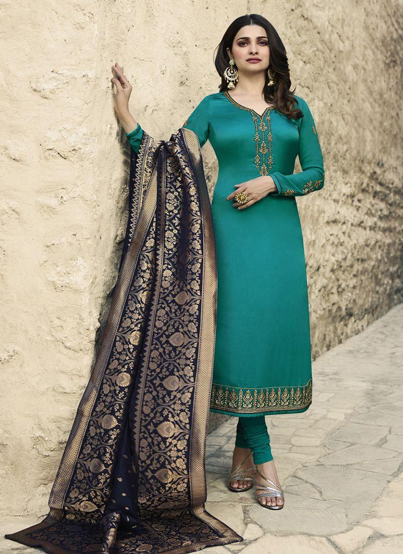 743c5d9e43 Prachi Desai Resham Blue Churidar Designer Suit buy online -