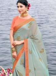 Print Art Silk Designer Saree in Grey