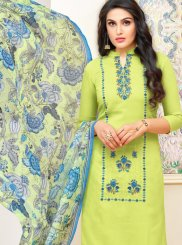 Print Art Silk Green Churidar Designer Suit