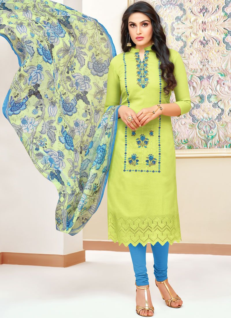 Print Art Silk Green Churidar Designer Suit