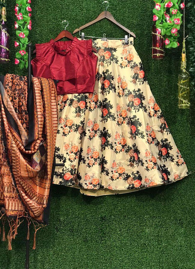 Print Art Silk Multi Colour Lehenga Choli