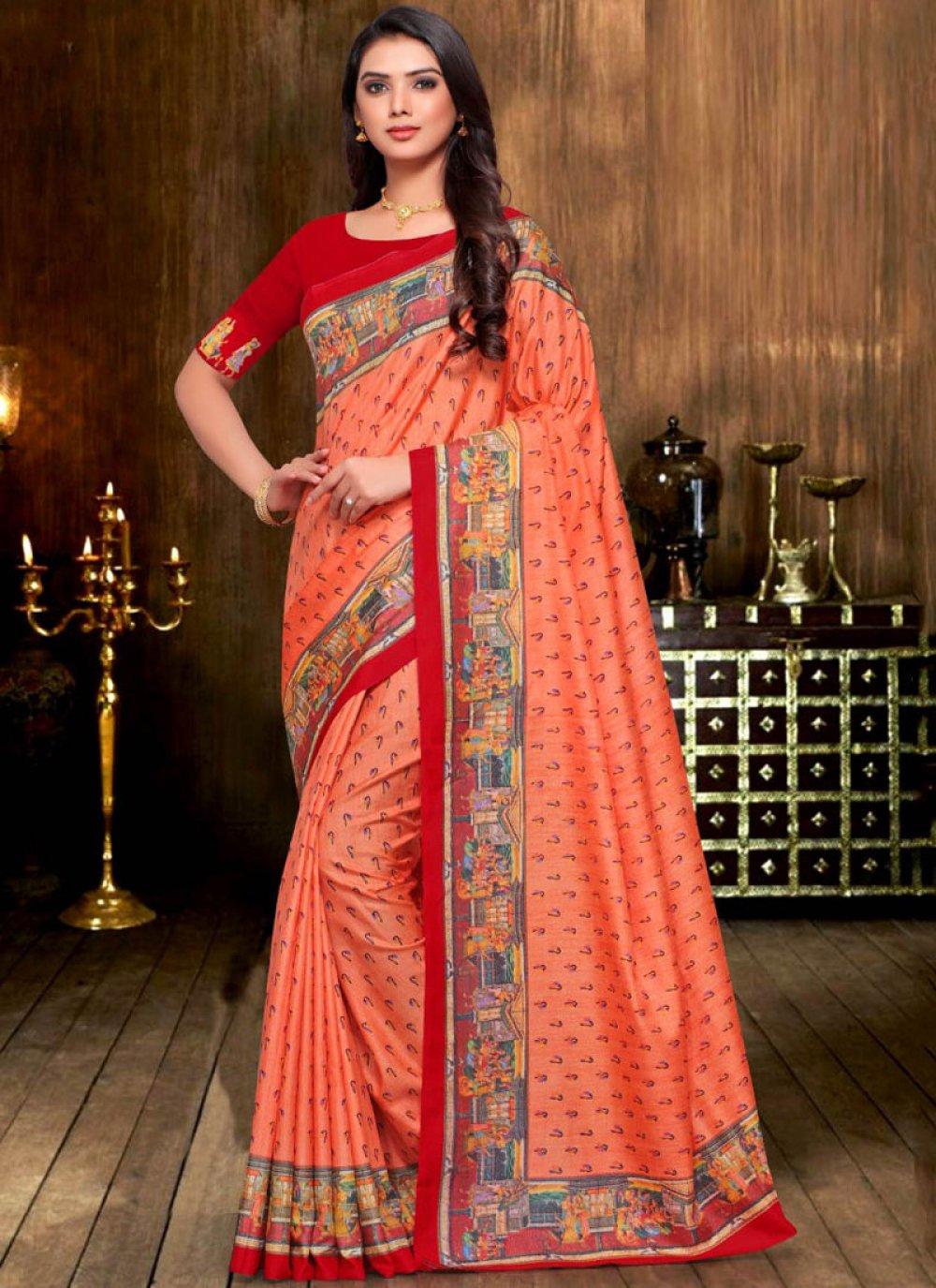 Print Art Silk Orange Designer Traditional Saree