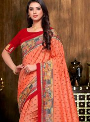 Print Art Silk Orange Designer Traditional Saree