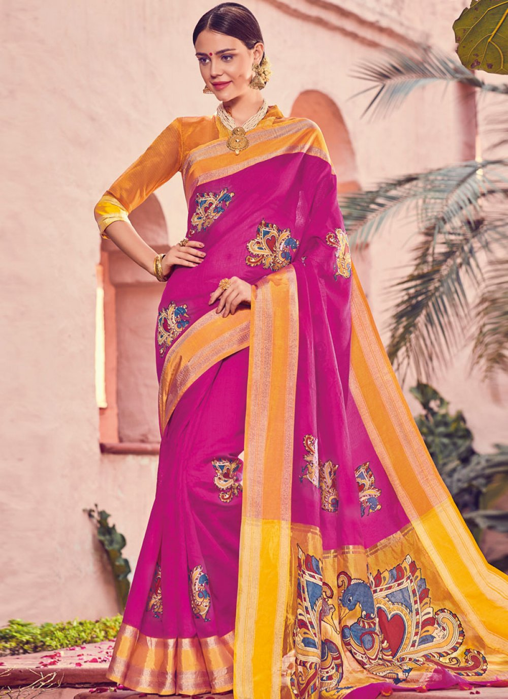 Print Art Silk Traditional Designer Saree in Hot Pink