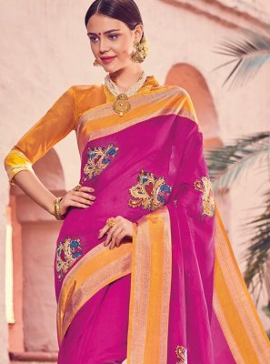 Print Art Silk Traditional Designer Saree in Hot Pink