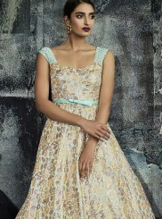 Print Beige Designer Gown