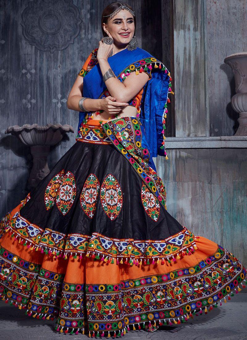 Print Black and Orange Trendy Designer Lehenga Choli