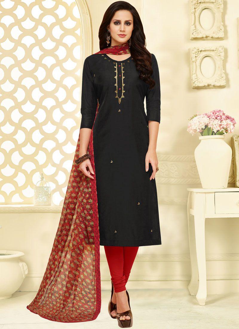 Print Black Chanderi Cotton Churidar Suit