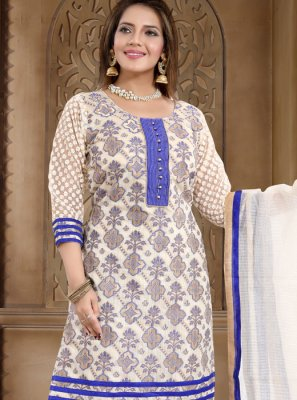 Print Blue Banarasi Silk Churidar Salwar Suit