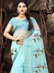 Print Blue Classic Saree