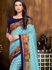 Print Blue Traditional Saree