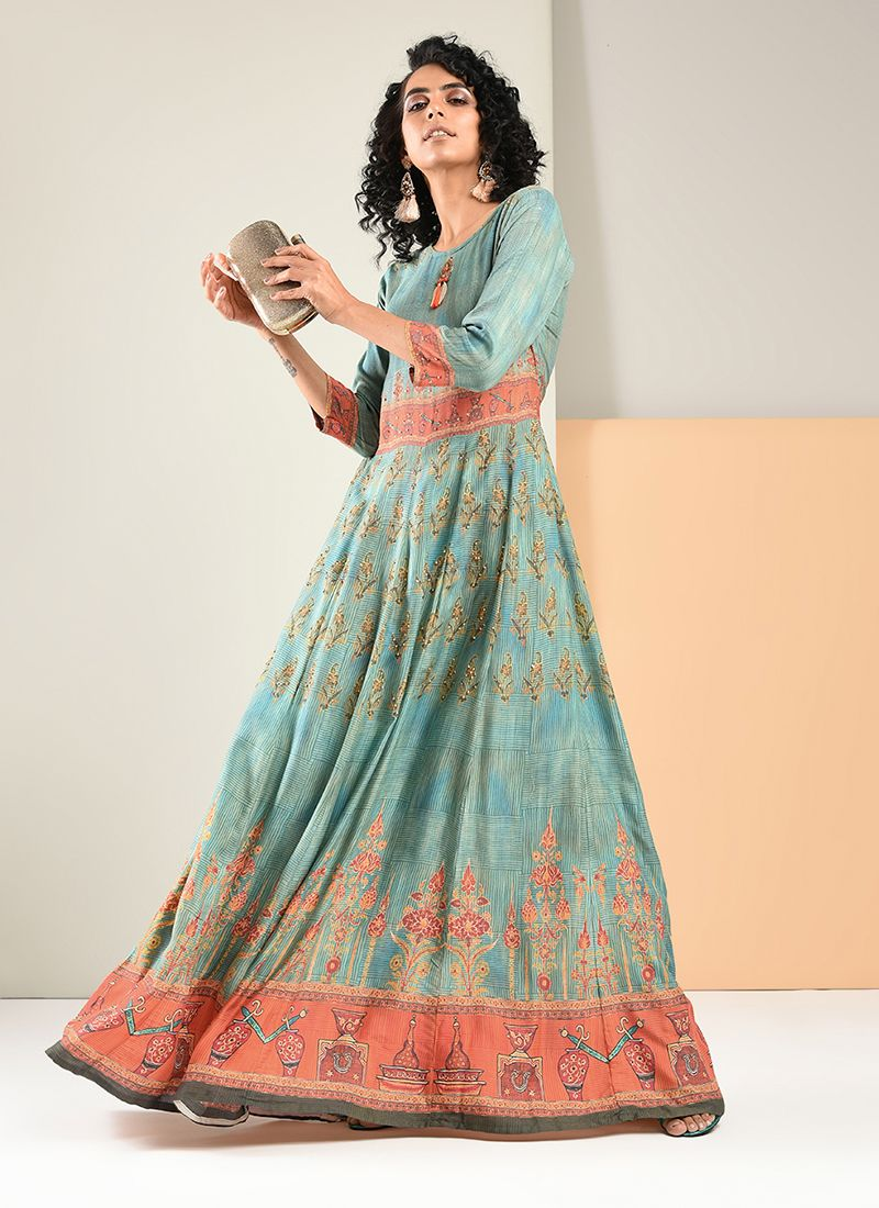 Print Blue Trendy Gown