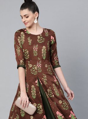Print Brown Poly Silk Party Wear Kurti