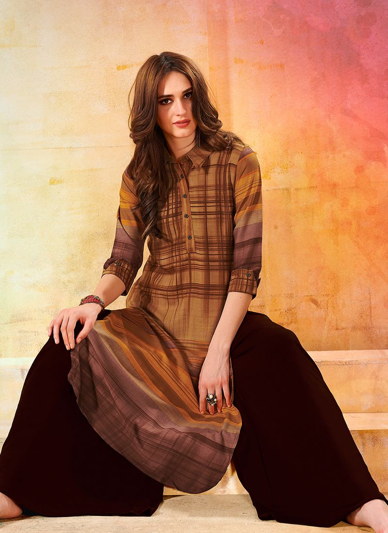 Print Brown Rayon Party Wear Kurti