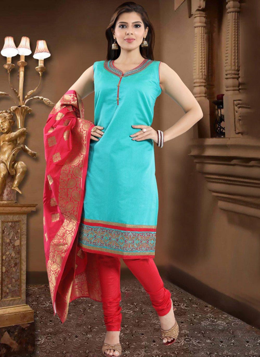 Print Chanderi Churidar Designer Suit in Firozi