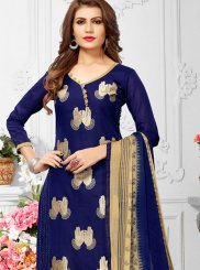 Print Chanderi Churidar Suit in Blue