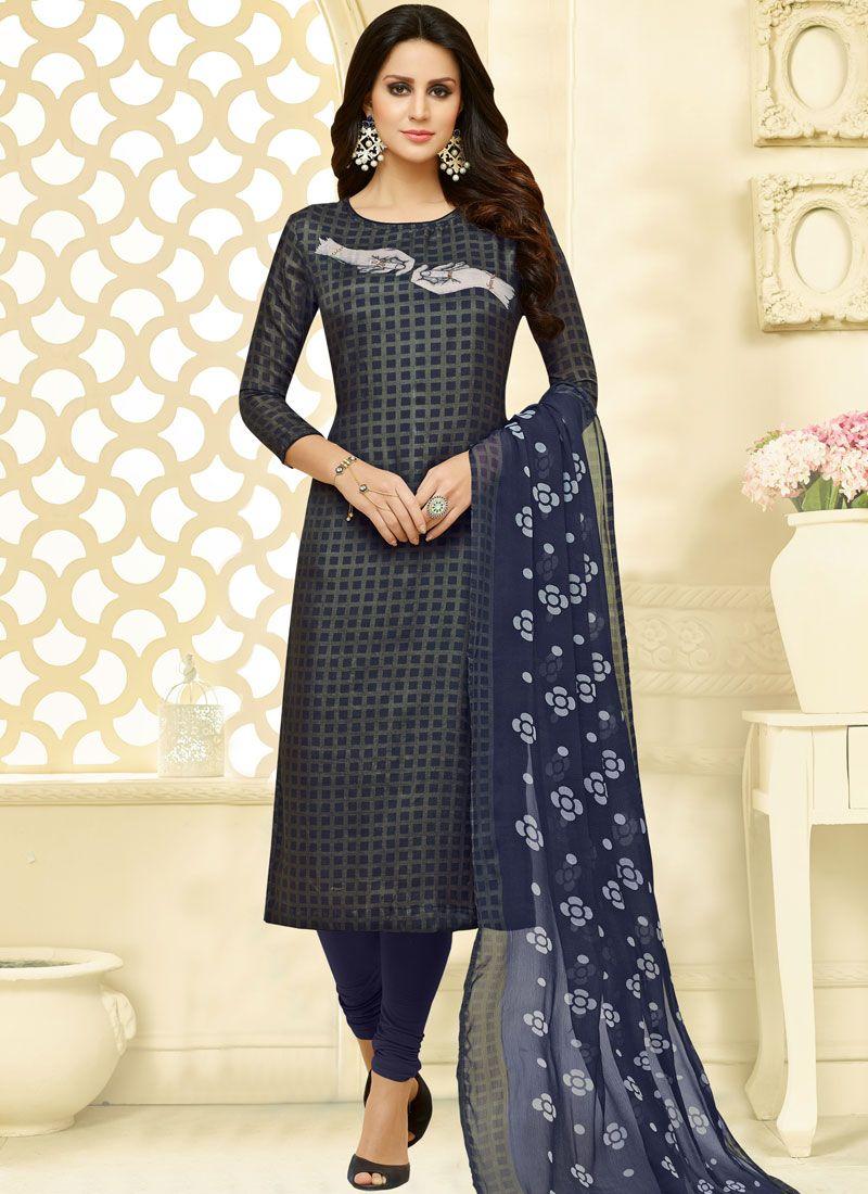 Print Chanderi Cotton Churidar Suit in Navy Blue