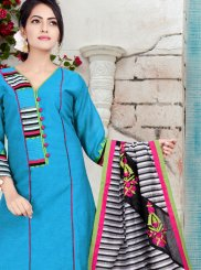 Print Chanderi Readymade Suit in Blue