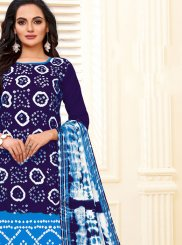 Print Cotton Blue Readymade Suit