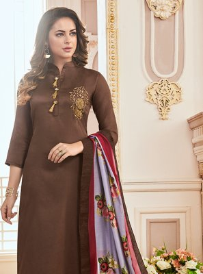 Print Cotton Brown Readymade Suit