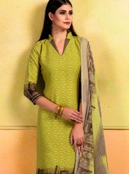 Print Cotton Churidar Suit in Green