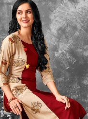 Print Cotton Maroon Party Wear Kurti