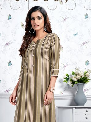 Print Cotton Party Wear Kurti in Brown