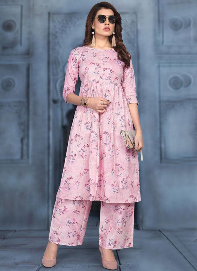 Print Cotton Party Wear Kurti in Pink