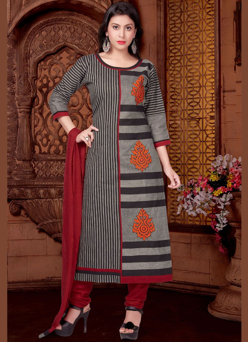 Print Cotton   Readymade Suit in Black