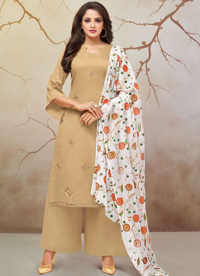 Print Cotton Silk Palazzo Designer Salwar Kameez in Cream