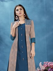 Print Cotton Teal Casual Kurti