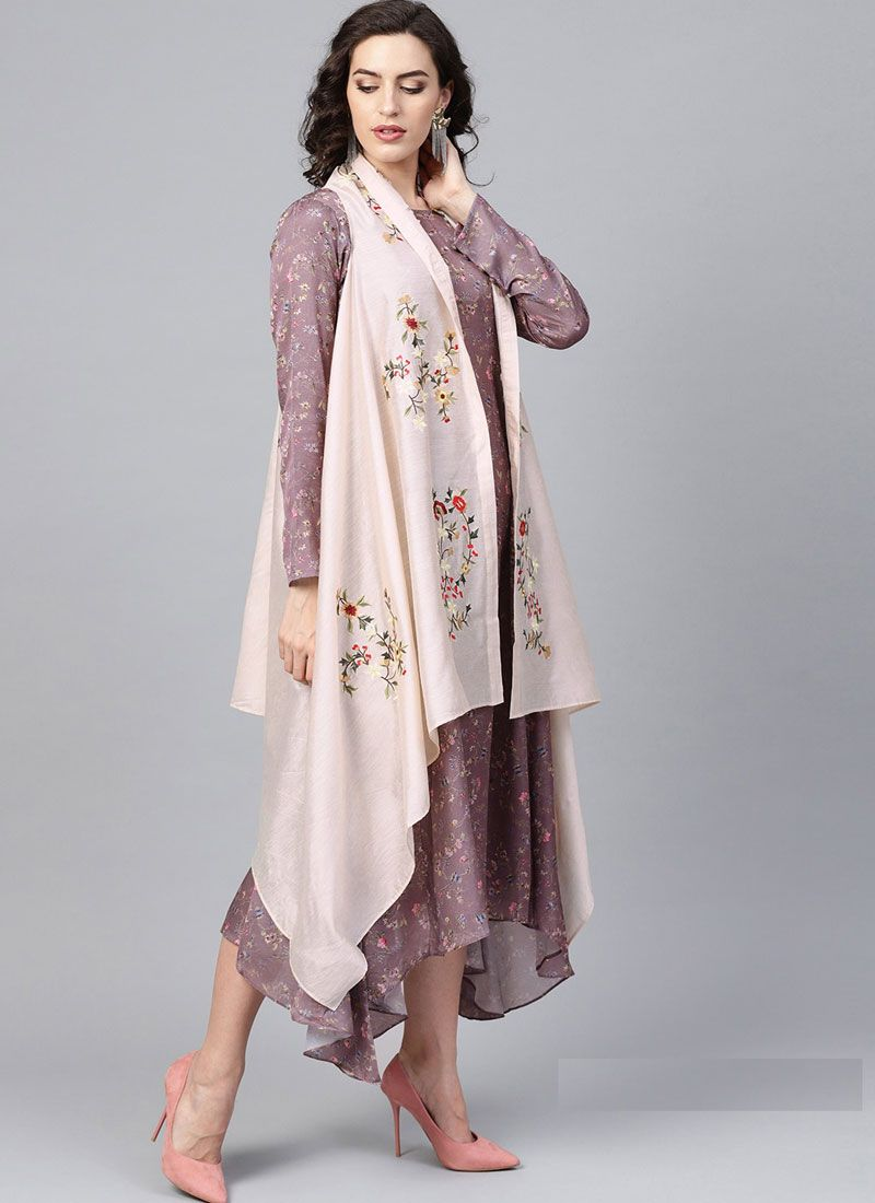 Print Cream Fancy Fabric Party Wear Kurti
