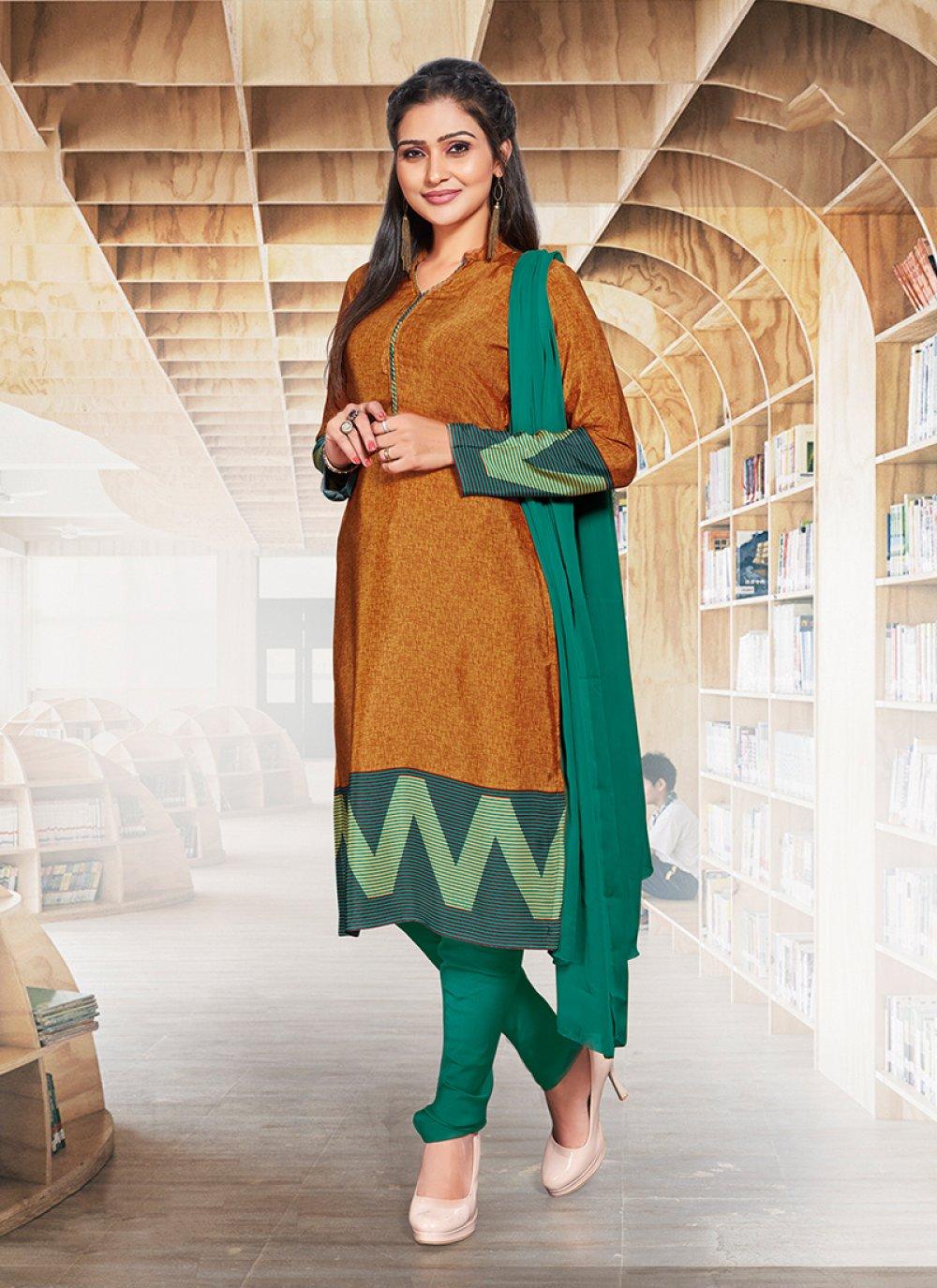 Print Crepe Silk Churidar Suit