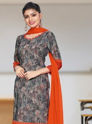 Print Crepe Silk Churidar Suit in Grey
