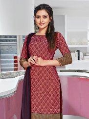 Print Crepe Silk Churidar Suit in Multi Colour
