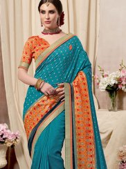 Print Fancy Fabric Blue Printed Saree
