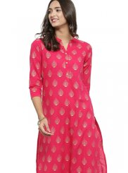 Print Fancy Fabric Casual Kurti in Hot Pink