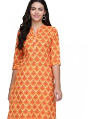 Print Fancy Fabric Casual Kurti in Orange