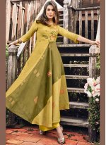Print Fancy Fabric Party Wear Kurti in Green and Mustard